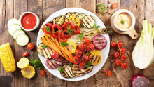 Vegetable Barbecue With Dip Sa...