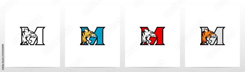 Fototapeta Tiger On Letter Logo Design M
