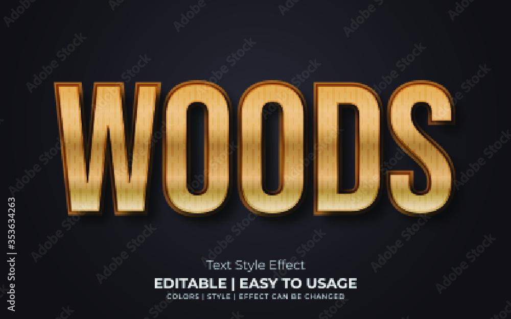 Fototapeta 3d Wood Text Style Effect