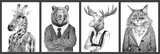 Animals in clothes. People with heads of animals. Concept graphic, drawing, photo manipulation for cover, advertising, prints on clothing and other. Weasel, antelope, zebra,boar.