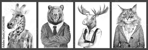 Fototapeta Animals in clothes. People with heads of animals. Concept graphic, drawing, photo manipulation for cover, advertising, prints on clothing and other. Weasel, antelope, zebra,boar.  obraz