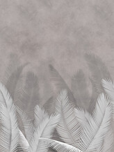 Branches Of Palm Leaves With Gray Background