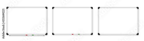 Empty white marker board on white background Fototapet