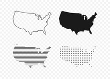 USA Map. USA Vector Icons. American Map. United States Of America Map In Flat And Lines Design. Vector Illustration