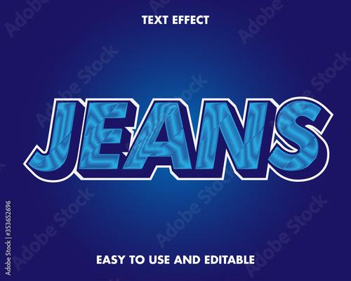 Fototapeta Editable text effect - jeans style obraz na płótnie