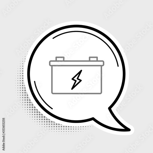 Photo Line Car battery icon isolated on grey background