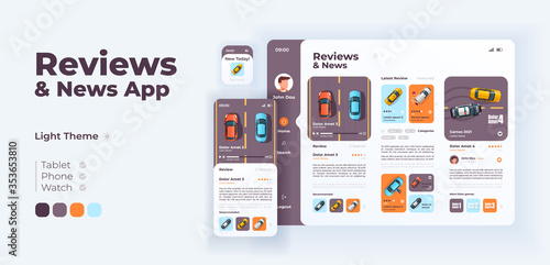 Obraz Auto reviews and news app screen vector adaptive design template. Application day mode interface with flat illustrations. Car services, racing games ratings smartphone, tablet, smart watch cartoon UI - fototapety do salonu