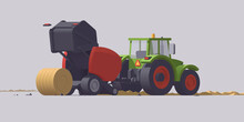 Vector Tractor & Round Baler. Straw Baling. Isolated Illustration