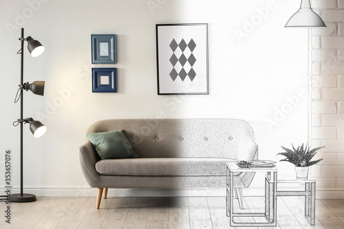 Room with modern lamps and comfortable sofa Poster Mural XXL