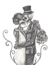 Art Couple Wedding Skulls Tatt...