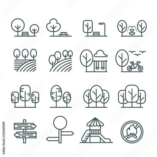 Park and outdoor line icon set 1 Canvas Print