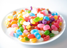 Colourful Jelly Beans On A Whi...