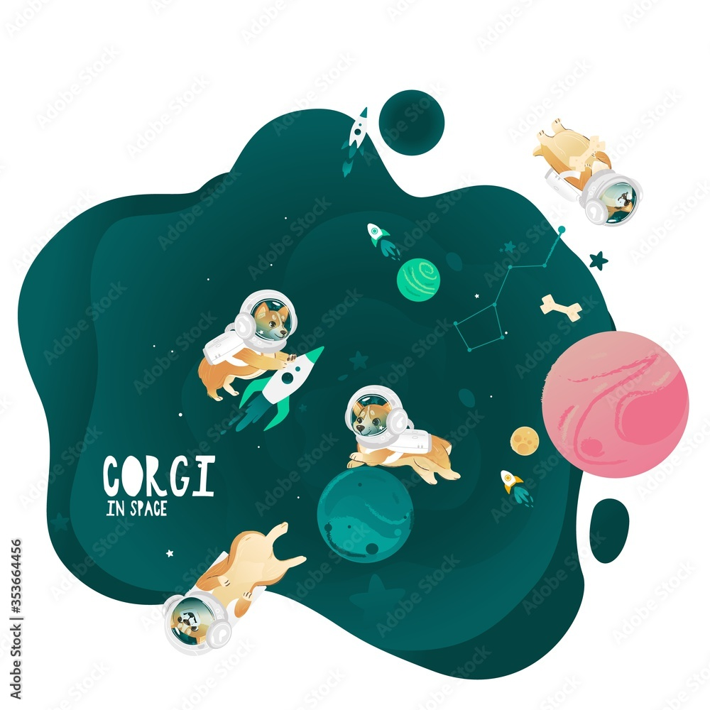 Fototapeta Cute corgi dogs in the spacesuits are flying in outer space vector illustration.