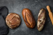 Rustic Bread On Dark Backgroun...