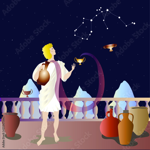 Aquarius stands with a jug on the balcony under the starry sky Canvas Print