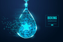 Abstract Silhouette Of A Wireframe Punching Bag On The Blue Background. Boxing Sports Equipment. Boxer Is Winner. Convenient Organization Of Eps File. Vector Illustration. Thanks For Watching