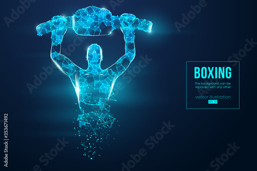Photo Abstract silhouette of a wireframe boxer fighter with boxing gloves on the blue background