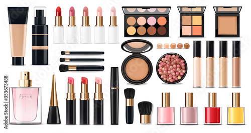 Canvas Print Realistic cosmetics make up set, big collection makeup product, powder, lipstick