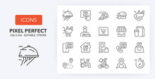 Food Delivery Line Icons 256 X...