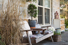 Outdoor Deck With Wooden Chair...