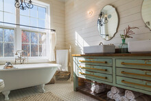 Bathroom With White Roll Top B...