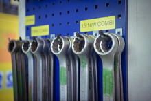 Close Up Of Spanners Hanging O...