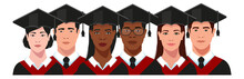 African, American, European College Girls And Boys - Students, University Graduates In Graduation Cap And Gown Set. Commencement Ceremony. Vector Illustration.