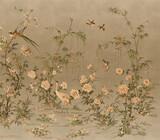 vintage floral background wallpaper jaban planet berds old panting - 353703461