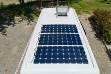 Camper Van Solar Roof Panels With Skylight Top View Motorhome