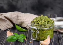 Pesto Sauce In A Jar With Pine...