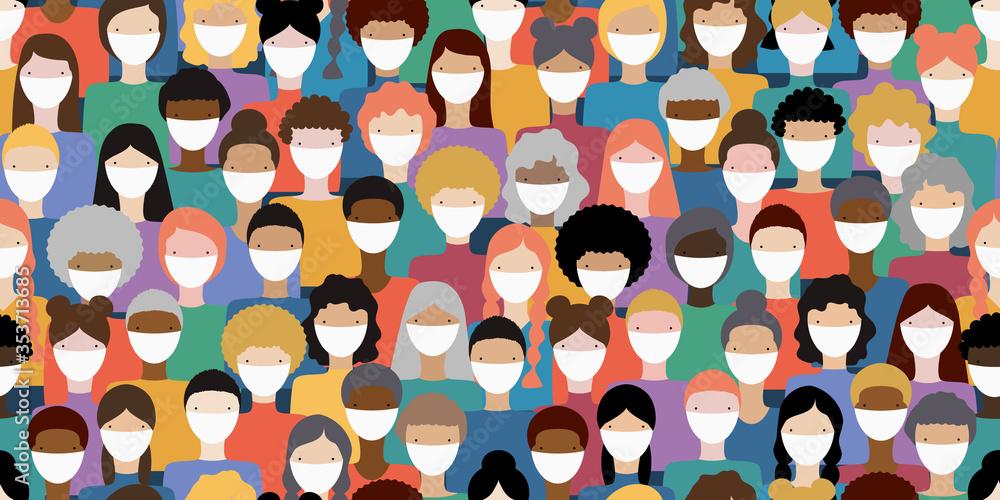 Fototapeta Illustration of diverse crowd of people wearing medical masks for prevention of virus transmission. New corona virus COVID-19 concept. Vector seamless pattern.