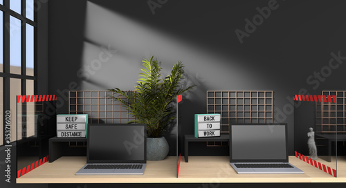 3d image of laptops in the office with plexiglass protective sheet, blank wall a Fototapet