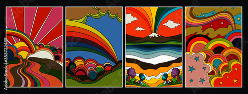 1960s Hippie Style Poster Set Psychedelic Landscapes, Rainbows, Clouds, Outdoor Canvas Print
