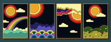 1960s Hippie Style Poster Set, Abstract Illustrations Clouds, Rainbow, Sun, Skies Psychedelic Art Stylization