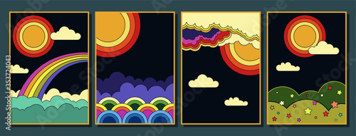 Fotografia 1960s Hippie Style Poster Set, Abstract Illustrations Clouds, Rainbow, Sun, Skie
