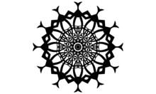 Black Flower Mandala Icon Isolated On White Background