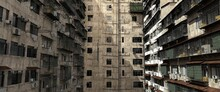 Futuristic Urban Jungle. Near Grunge Future. Architecture Residential Buildings In A Cyberpunk Style. Photorealistic 3D Illustration.
