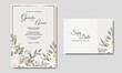 Wedding invitation card template set with beautiful floral leaves decoration Premium Vector