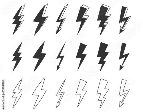 vector graphic of flat thunder and bolt lighting flash icons set vector on white background. thunder icon for marketing element, etc. Wall mural