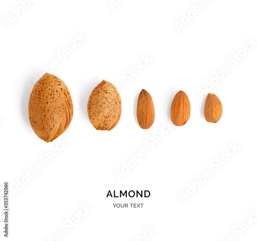 Cuadros en Lienzo Creative layout made of almond. Flat lay. Food concept.