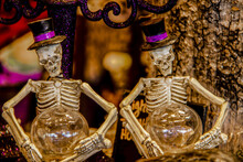 Two Skeletons With Top Hats Wi...