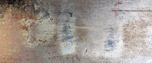Rusty Metal. Old Metal Door With Cracked Paint And Rust. Abstract Grunge Background, Wide Format
