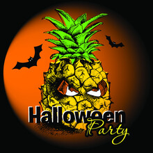 Halloween Poster With Image Of A Spooky Pineapple With Eyes And Bats. Vector Illustration.