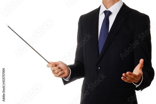 Obraz na plátně 指し棒を持つビジネスマン