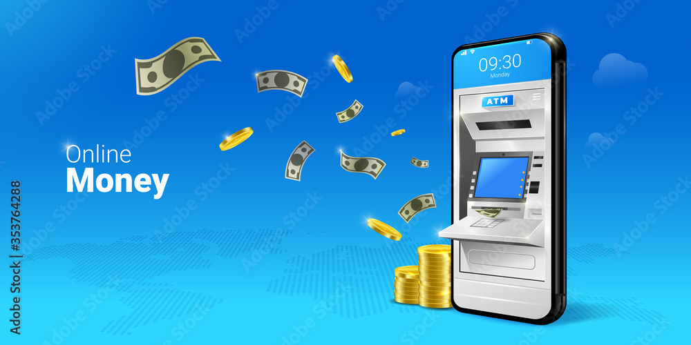 Fototapeta Phone with a mobile interface of the online payment, ATM, money transfers, financial transactions and digital financial services. falling Money on the Mobile ATM illustration.
