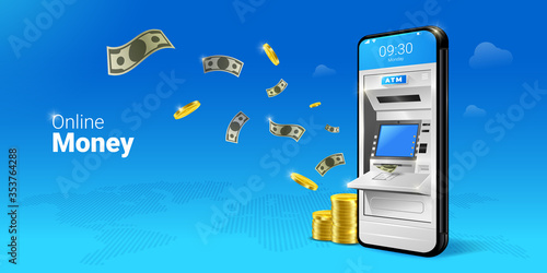 Fototapeta Phone with a mobile interface of the online payment, ATM, money transfers, financial transactions and digital financial services. falling Money on the Mobile ATM illustration. obraz