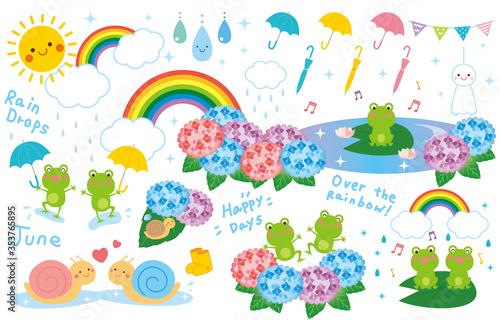 梅雨 雨の日 イラスト セット ベクター Wallpaper Mural