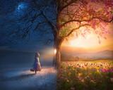 Fototapeta Natura - Little Girl and Surreal Scene