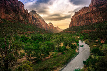 Twilight Hour On Zion Canyon A...