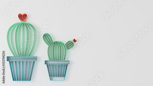Fotografía Paper quilling of cactus on white